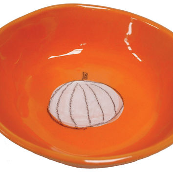 Orange Pumpkin Ceramic Bowl