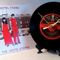 White Stripes / Hotel Yorba / 45 rpm Record Clock and Picture Sleeve / Made from Recycled Vinyl
