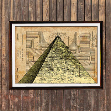 Pyramid poster Steampunk art Patent print Antique print SOL12