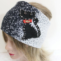 Grey black treadmills, Cat headband, Cat polka-dot head, Handmade headband, Mohair headband, Women hair band, Head warm winter headband