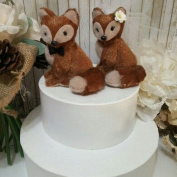 SALE ooak  romantic fox wedding cake topper or anniversary wedding