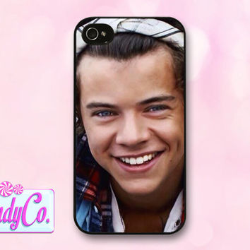 Phone case featuring Harry Styles with bandana! Available for iPhone 4, 4s, 5, 5s, + Samsung Galaxy S3 or S4. Cute cover! Gift for girls.