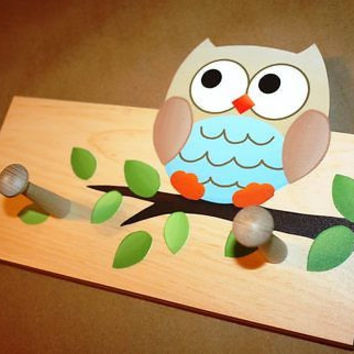 Boy Owl Kids Wooden CLOTHES PEG Rack for Bathroom Bedroom 2CR003