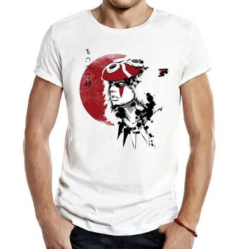 Anime T-Shirt cosplay Mononoke Red Sun Princess Men Unisex Tees T Shirts classic Casual Fashion Anime princess mononoke chihiro anime forest japan AT_57_4