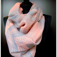 Pink scarf, Gray Infinity scarf, Gray and Pink scarf, Grey Polka dot scarf