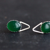 Oval Green Agate with Spike Accent - Sterling Silver Post Earrings