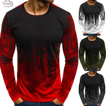 1Fashion&Casual Hot Men O-Neck Gradient Color Long-Sleeve Beefy Muscle Basic Solid Blouse Tee Shirt Top DropShiping 18nov21