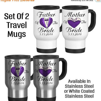 Travel Mug, Father Of The Bride Mother Of The Bride Set Tuxedo Dress, Gift Idea, Stainless Steel 14 oz Coffee Cup