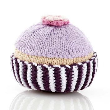 Pink Cupcake Fair Trade Knitted Baby Rattle