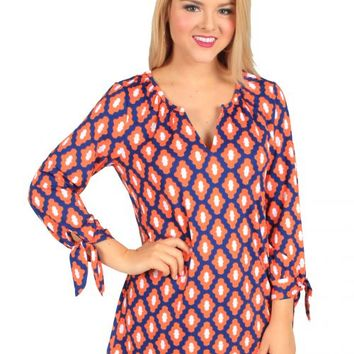 March Into The Sun Orange And Navy Geo Tunic | Monday Dress Boutique