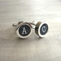 Mens Personalized Typewriter Key Cuff Links by Beazuness on Etsy