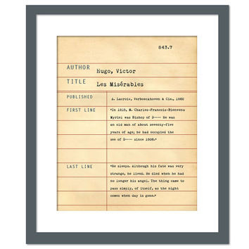 Les Misérables by Victor Hugo - Library Card Art Print - Book Lovers Poster - Library Poster - Book Gift - Dewey Decimal System - Les Mis