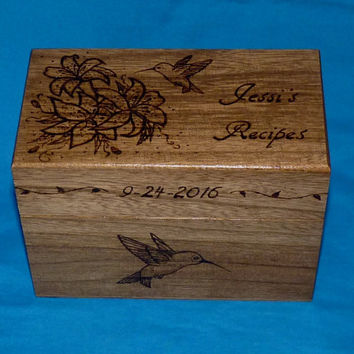 Personalized Recipe Box Custom Wood Burned Recipe Box Wedding Recipe Box Engraved Recipe Hummingbird Bridal Shower Gift