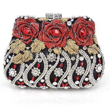 Stylish Flower Luxury Crystal Evening Bag Metal Clutch Bag Rose Soiree Purse for Party Studded Diamante Banquet Bag 88170