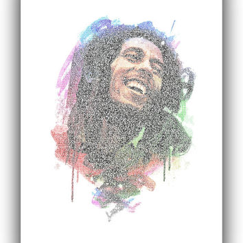 "Bob Marley lyric ""No, woman, no cry"" typographic art print. Typographic Watercolor Print. Lyrics Bob Marley portrait. Home Decor *10*"