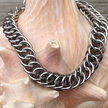 Stainless steel, half-persian 4 in 1 chainmaille bracelet