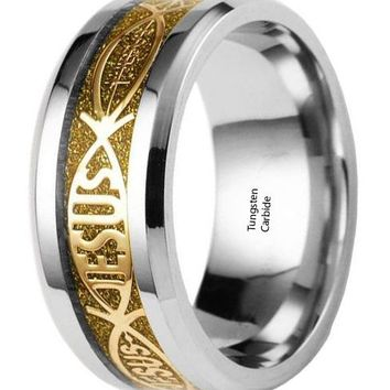 CERTIFIED 8mm JESUS Beveled Edges Tungsten Celtic Rings Jewelry Wedding Band Rings