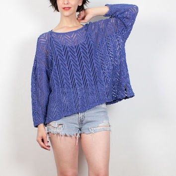 Vintage 80s Sheer Mesh Top Blue Purple Unlined Crochet Netting Tshirt Draped Mod 1980s Blouse New Wave Chevron Stripe Knit Top M L Large XL