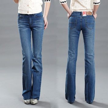 Women's slim mid waist boot cut jeans light blue fashion bell bottom trousers comfortable flares pants free shipping