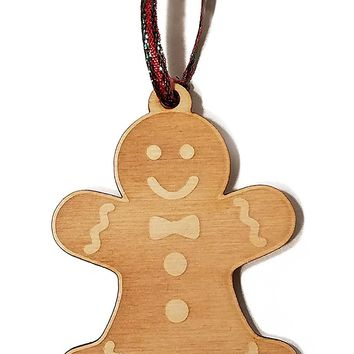 Gingerbread Man Cookie Cutout Laser Engraved Wooden Christmas Tree Ornament Gift Seasonal Decoration
