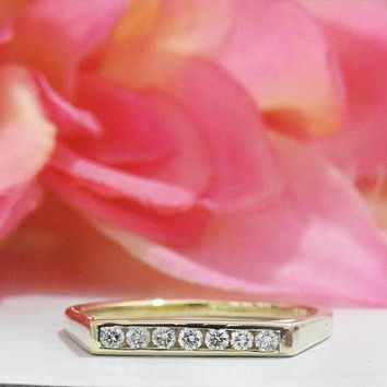 Diamond Ring, Anniversary Ring, Filigree Ring, Wedding Ring, 14K gold ring, 7 stones