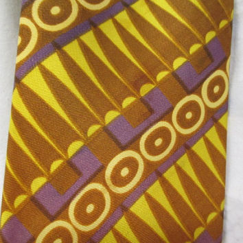 vtg polyester tie, yellow purple brown, boho vintage tie, mens vtg clothing, hipster necktie, retro man accessory, theatre costume prop