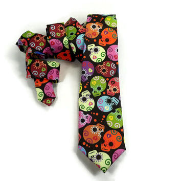 #sugarskull #dayofthedead Day of the Dead tie, Sugar Skull necktie, Halloween tie, mens sugar skull, Dia de los Muertos,#diadelosmuertos
