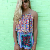 Malibu Skies Multi Color Diamond Aztec Print High Neck Romper