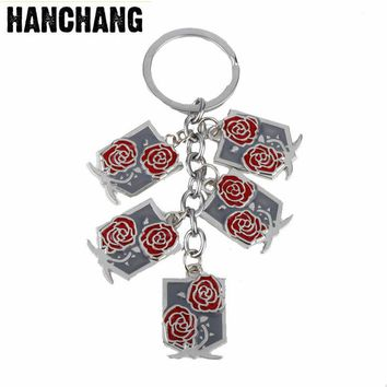 Cool Attack on Titan Anime Jewelry  Key Chain Rose Flower Cross Sword Shield Multi-Accessories Pendant Keychain Key Buckle  For Unisex AT_90_11