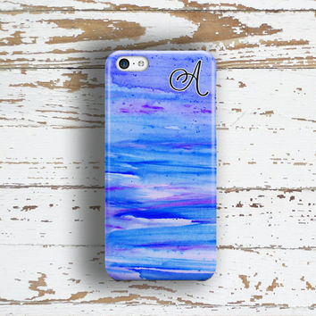 Pretty fashion accessory for women, Watercolor Iphone case, Girl's Iphone 6 case, Pretty Iphone 5s case, Teen IPhone 5c case, Blue (1338)