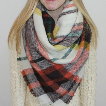 Blanket Scarf Oversized Plaid Tartan Shawl Shoulder Wrap Winter Scarf Sale
