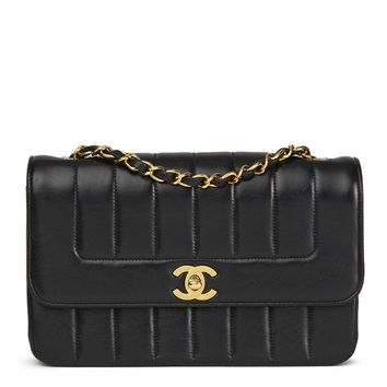 CHANEL BLACK VERTICAL QUILTED VINTAGE CLASSIC SINGLE FLAP BAG HB1707