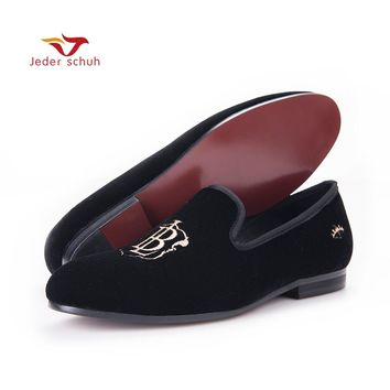 New style fashion men loafers gold embroidery handmade men velvet shoes party and wedding men's flat size US 6-14 freeshipping