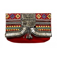 CAMILLA - DANCE OF THE DAO CURVED EMBELLISHED CLUTCH