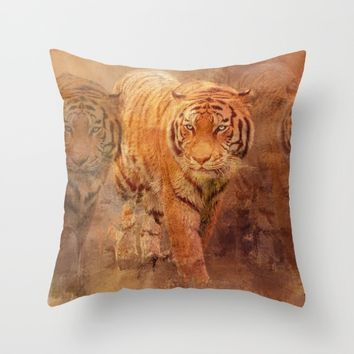 Tiger Spirit Throw Pillow by Theresa Campbell D'August Art