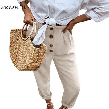 MoneRffi Women Cotton Full Pants Vintage Linen Casual High Waist Button Harem Pants Loose Big Size Trousers Pants Autumn