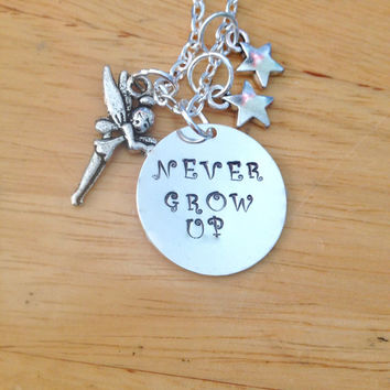 Never Grow Up Peter Pan Tinkerbell Disney Inspired Charm Necklace