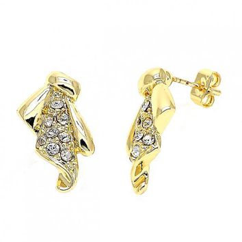 Gold Layered 02.59.0040 Stud Earring, Bird Design, with White Crystal, Polished Finish, Gold Tone