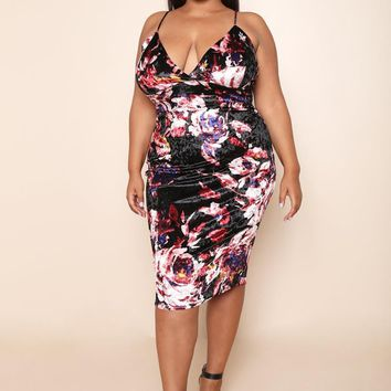 Silky Velvet stretch Floral Size Maxi Dress