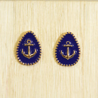 Navy Blue Anchor Stud Earrings