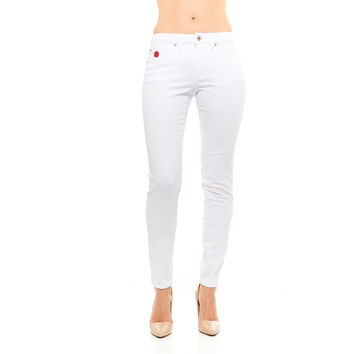 Red Jeans Women's Casual High Rise Denim Pants With Classis Bandage Emblem