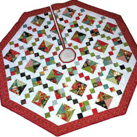 Quilted Christmas Tree Skirt, Jewel Box Tree Skirt, Moda Basic Grey Jovial Christmas Quilt, Quiltsy Handmade