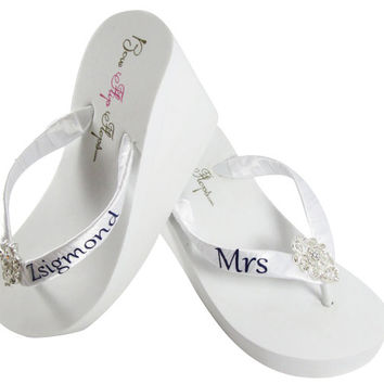 Bridal flip flops, Personalized Wedding lace flip flops - Rhinestone embellished sandals-mrs last name bride- ivory wedge white bling heel