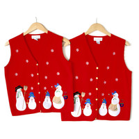 Twinsies! Matching Snowmen Ugly Christmas Sweater Vests