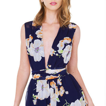 Floral Addiction Navy Floral Print Multi Function Romper