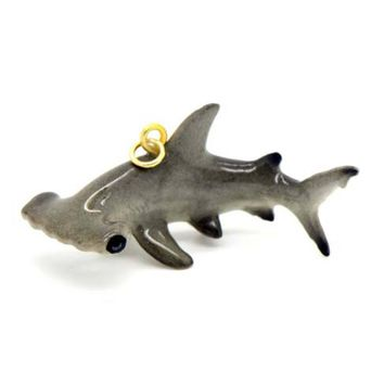 3D Porcelain Hammerhead Shark Shaped Ceramic Pendant Necklace
