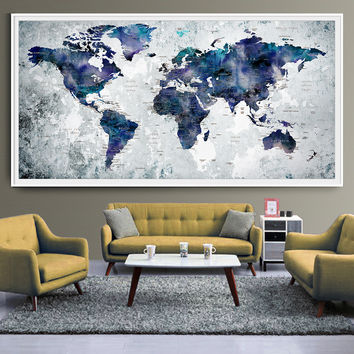 WORLD MAP Art Print Poster, Watercolor World Map Push Pin Wall Art, Push pin travel map Poster, Map Poster, Art Print, Wall Art, Decor (L34)