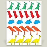 Dinosaur Parade Art Print by Dixondoesdoodles on BoomBoomPrints