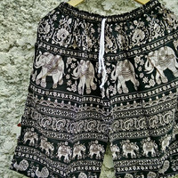 Large to XL Unisex shorts Boho Hippie elephants pattern print Beach Summer clothes Hobo Clothing Native Styles Hipster Unique men in black