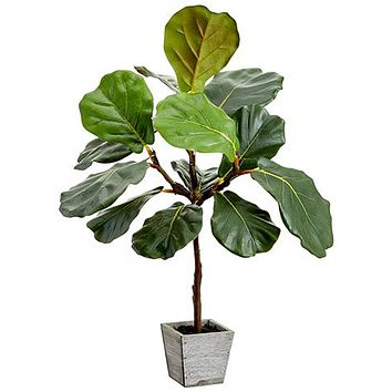 Fake Fiddle Leaf Fig Plant in Wood Planter - 23""